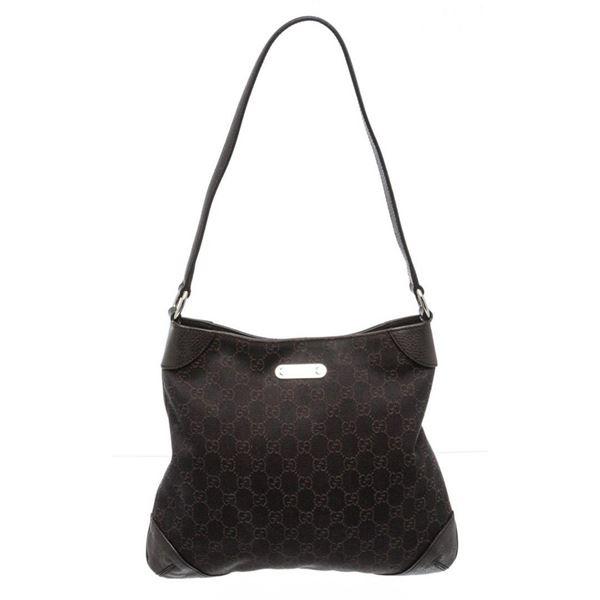 Gucci Black GG Canvas Leather Thin Shoulder Bag