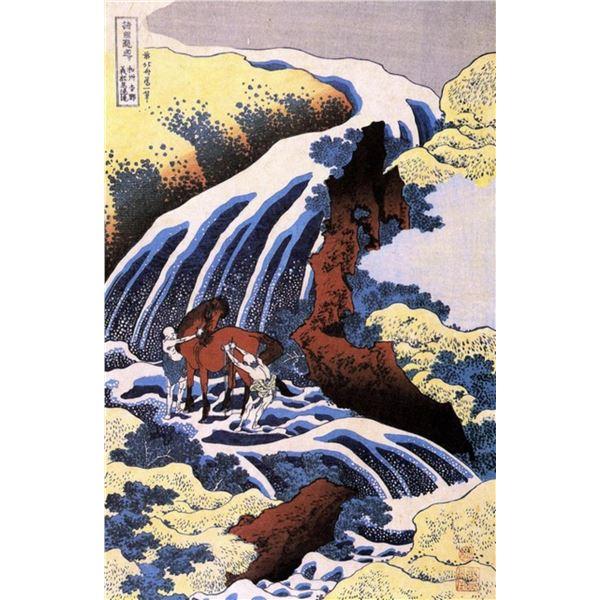 Hokusai - Waterfall and Horse Washing