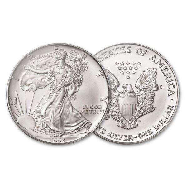 1993 American Silver Eagle .999 Fine Silver Dollar Coin