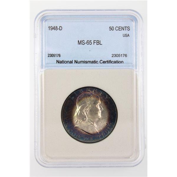 1948-D Franklin Half Dollar NNC MS-65 FBL