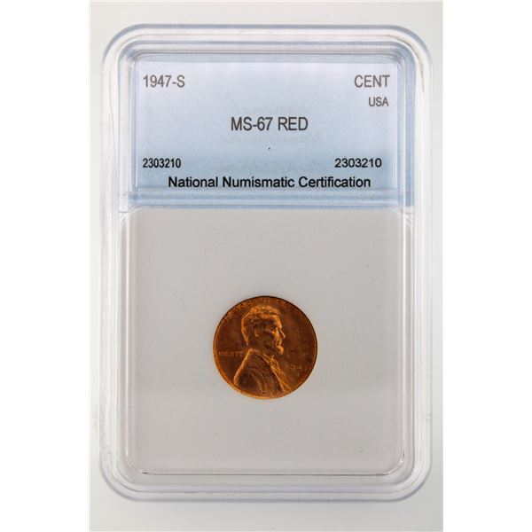 1947-S Lincoln Cent NNC MS-67 Red