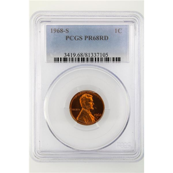 1968-S Lincoln Cent PCGS PR-68 RD