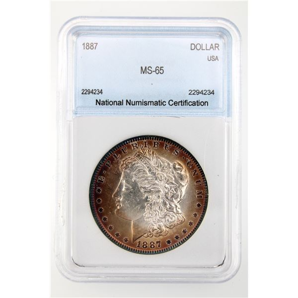 1887 Morgan Silver Dollar NNC MS-65  Price Guide $230 AMAZING COLOR!!