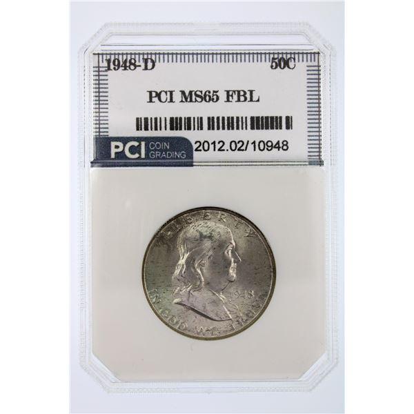 1948-D Franklin Half Dollar PCI MS-65 FBL
