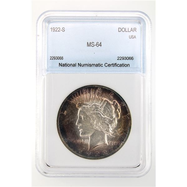 1922-S Peace Dollar NNC MS-64  Price Guide $250