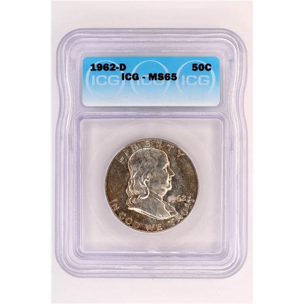 1962-D Franklin Half Dollar ICG MS-65