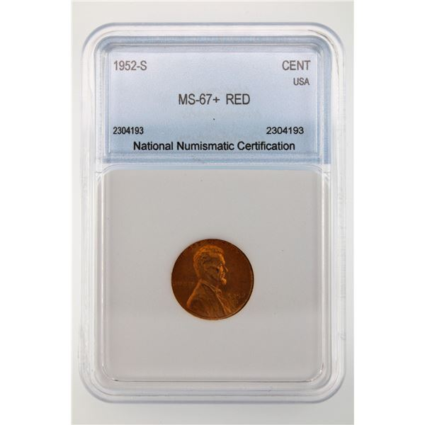 1952-S Lincoln Cent NNC MS-67+ Red