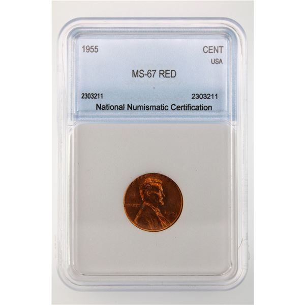 1955 Lincoln Cent NNC MS-67 Red