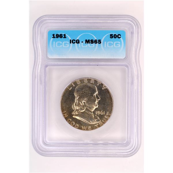 1961 Franklin Half Dollar ICG MS-65