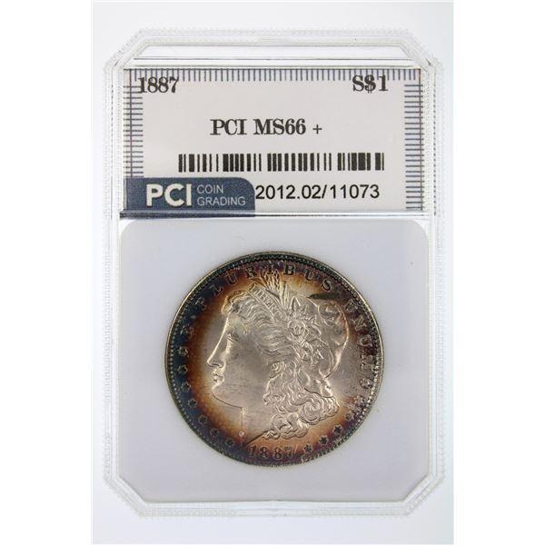 1887 Morgan Silver Dollar PCI MS-66   Price Guide $600 BEAUTIFUL CANVAS BAG TONING!!