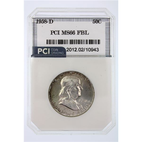 1958-D Franklin Half Dollar PCI MS-66 FBL