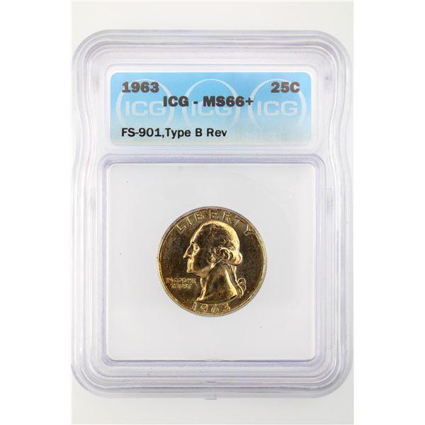 1963 Washington Quarter ICG MS-66+ Type B Reverse FS-901 Price Guide $600