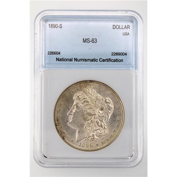 1890-S Morgan Silver Dollar NNC MS-63  Price Guide $150 Lightly Toned SUPERB EYE APPEAL!