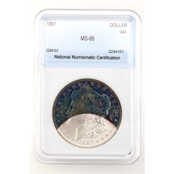 1887 Morgan Silver Dollar NNC MS-66  Price Guide $335 BEAUTIFUL BLUE/GREEN CRESCENT TONING!!