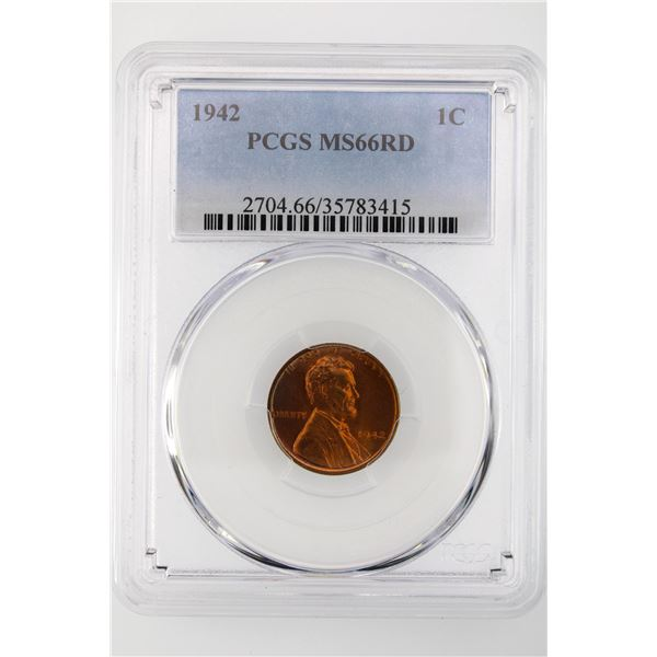 1942 Lincoln Cent PCGS MS-66 RD