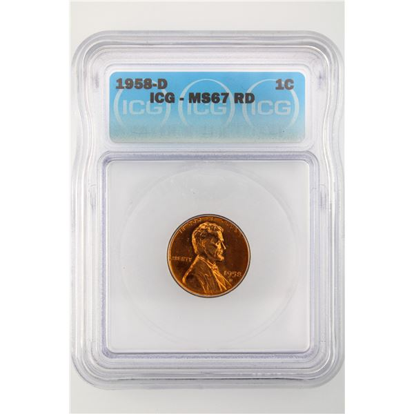 1958-D Lincoln Cent ICG MS-67 Red