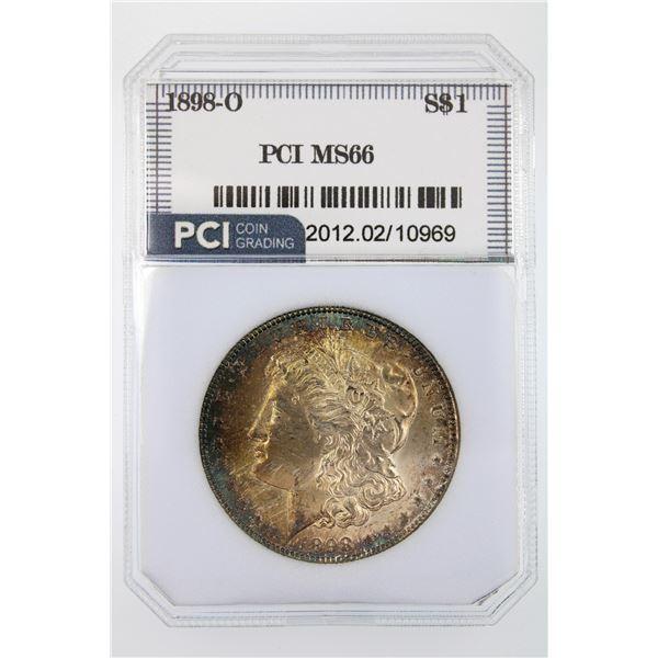 1898-O Morgan Silver Dollar PCI MS-66  Price Guide $375 GORGEOUS RAINBOW TONING!!