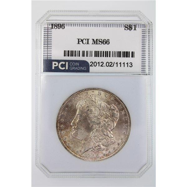 1896 Morgan Silver Dollar PCI MS-66  Price Guide $500  NICE TONING W/ GREAT LUSTER!!