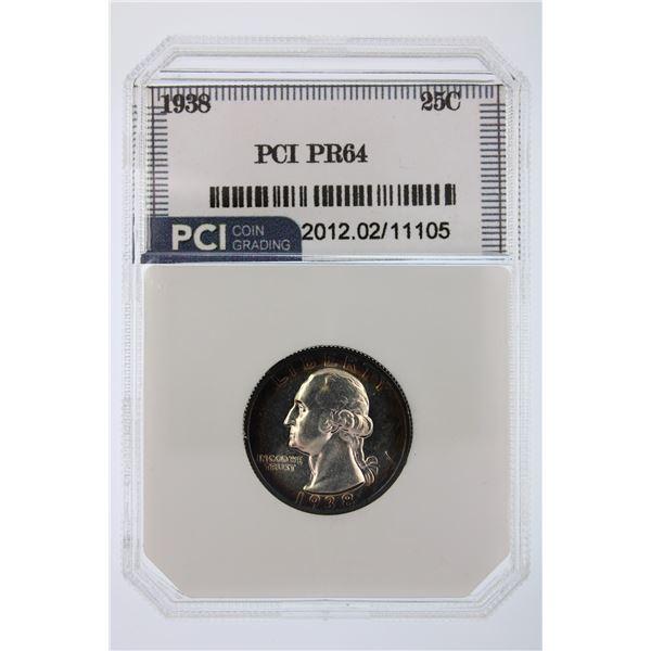 1938 Washington Quarter PCI PR-64  Price Guide $180