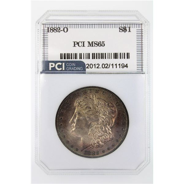 1882-O Morgan Silver Dollar PCI MS-65  Price Guide $650  EXCELLENT TONING!!