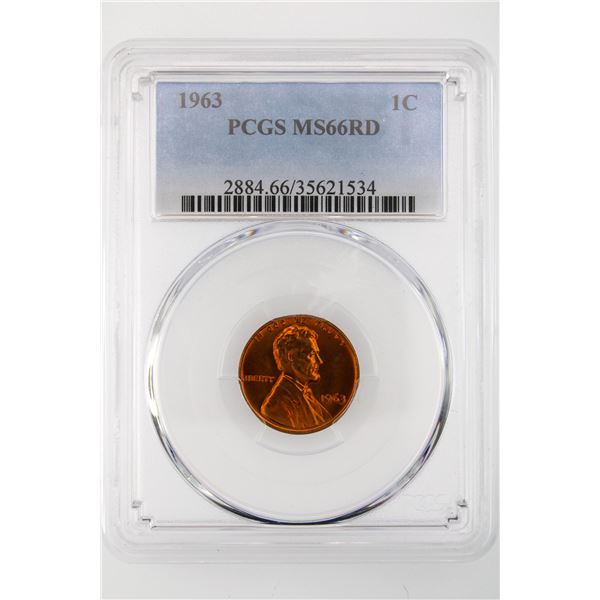 1963 Lincoln Cent PCGS MS-66 Red