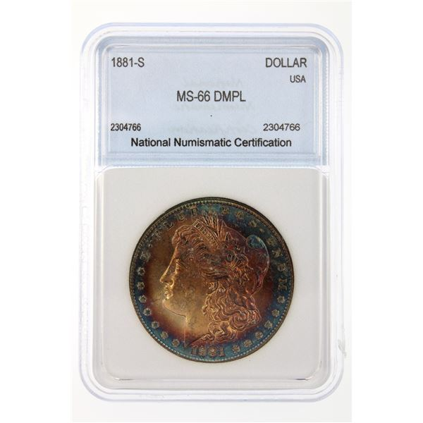 1881-S Morgan Silver Dollar NNC MS-66 DMPL Price Guide $2200 BEAUTIFUL BLUE RIM TONING!!
