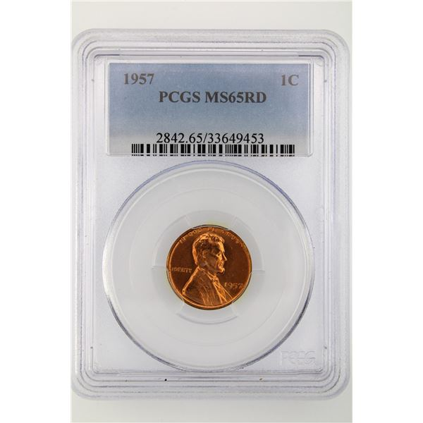 1957 Lincoln Cent PCGS MS-65 RD