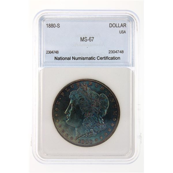 1880-S Morgan Silver Dollar NNC MS-67 Price Guide $1000 BEAUTIFUL IRIDESCENT BLUE TONING!!