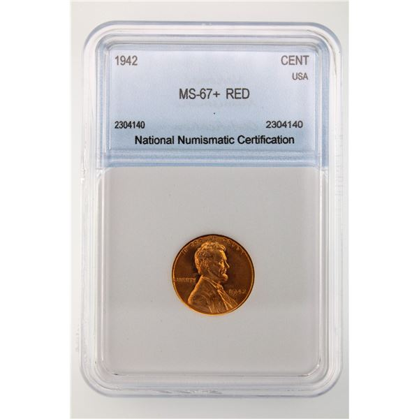 1942 Lincoln Cent NNC MS-67+ Red