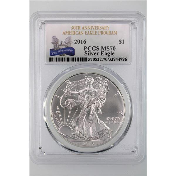 2016 American Silver Eagle Dollar PCGS MS-70 30th Anniversary A.E. Program