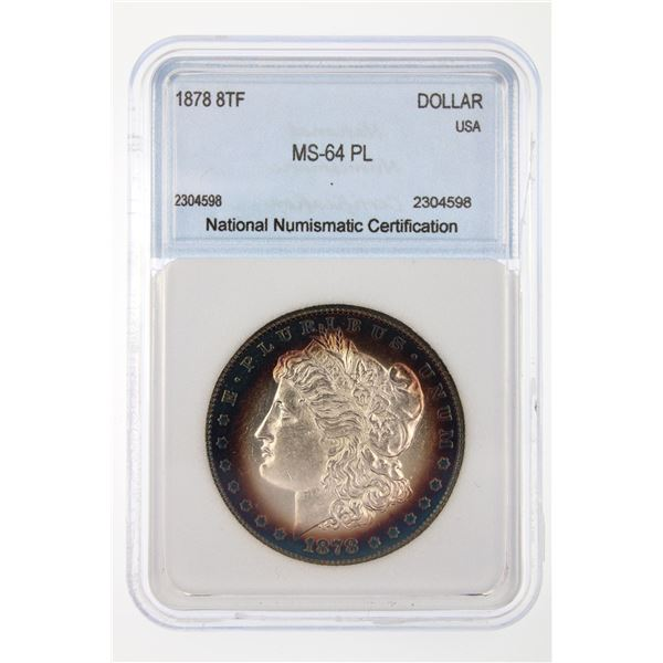 1878 8TF Morgan Silver Dollar NNC MS-64 PL Price Guide $950 AWESOME IRIDESCENT TONING!!