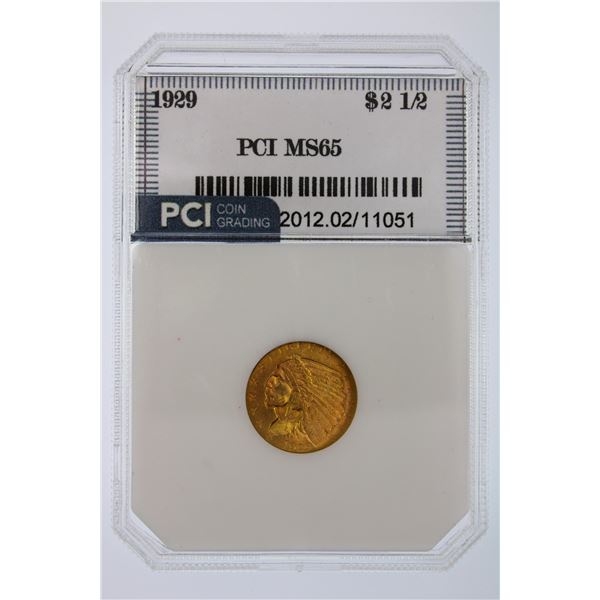 1929 Indian Gold $2.50 PCI MS-65  Price Guide $3750