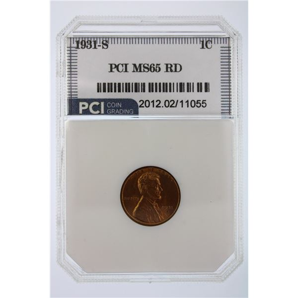 1931-S Lincoln Cent RD PCI MS-65  Price Guide $550