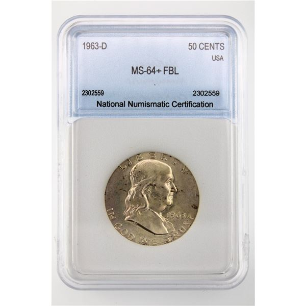 1963-D Franklin Half Dollar NNC MS-64+ FBL