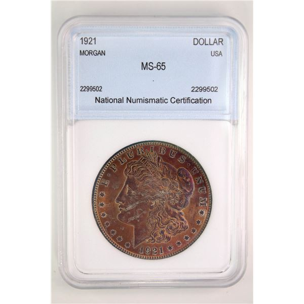 1921 Morgan Silver Dollar NNC MS-65  Price Guide $275 FANTASTIC TONING!!