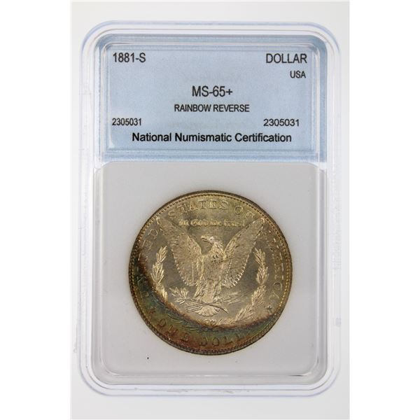 1881-S Morgan Silver Dollar NNC MS-65   Price Guide $285 RAINBOW REVERSE!!