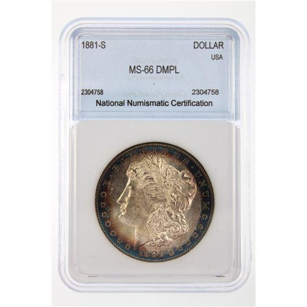 1881-S Morgan Silver Dollar NNC MS-66 DMPL Price Guide $2200 STUNNING BLUE RIM TONING!!