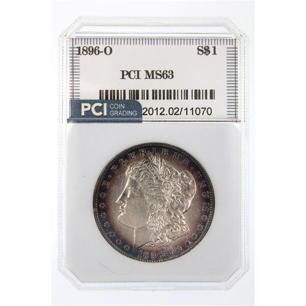 1896-O Morgan Silver Dollar PCI MS-63 Price Guide $4750 RARE KEY DATE W/ AMAZING TONING!!