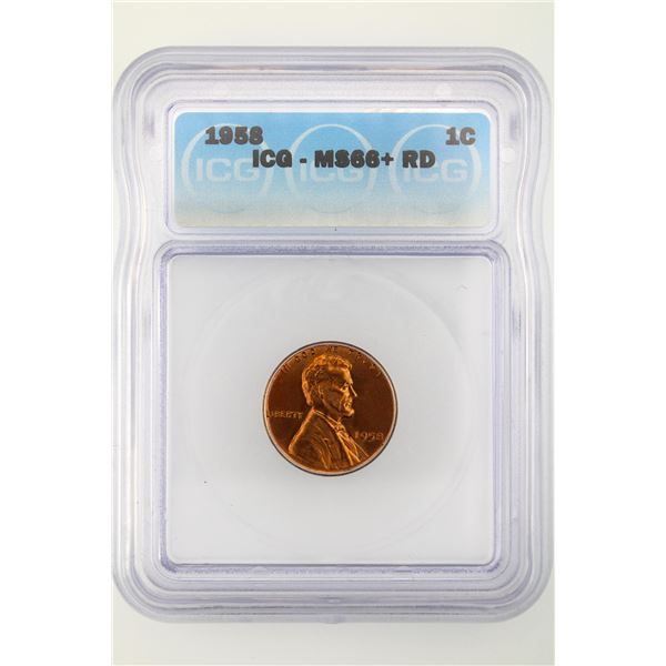 1958 Lincoln Cent ICG MS-66+ Red