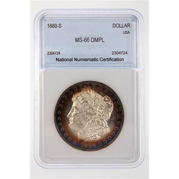 1880-S Morgan Silver Dollar NNC MS-66 DMPL Price Guide $2000 BEAUTIFUL IRIDESCENT TONING!!