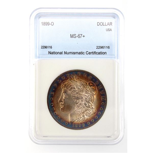 1899-O Morgan Silver Dollar NNC MS-67   Price Guide $6750 AWESOME IRIDESCENT BLUE RIM TONING!!