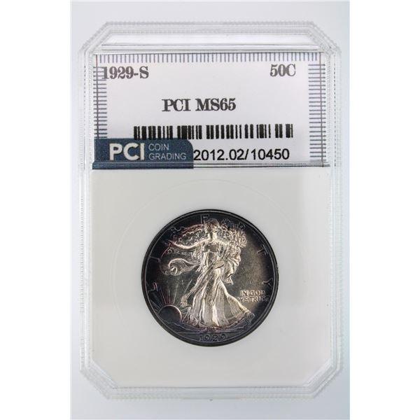 1929-S Walking Liberty Half Dollar PCI MS-65 Rare find Price Guide $2850