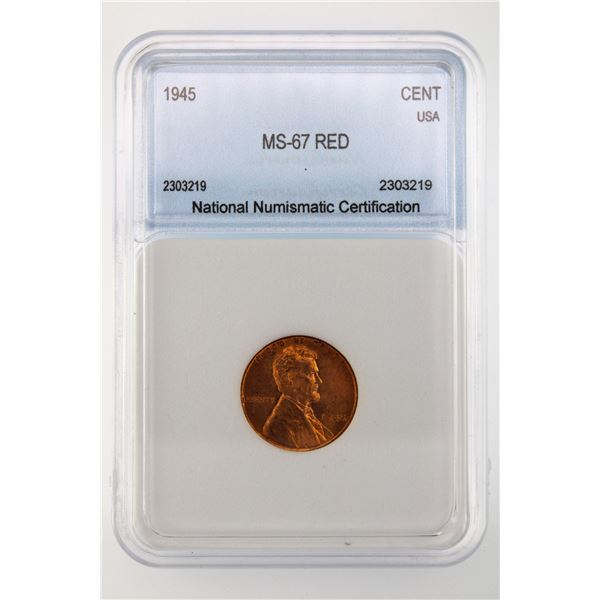 1945 Lincoln Cent NNC MS-67 Red