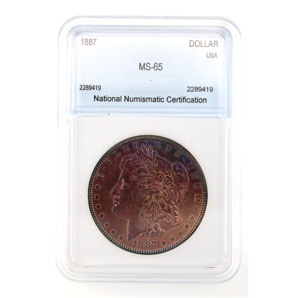 1887 Morgan Silver Dollar NNC MS-65  Price Guide $230 VERY NICE PURPLE TONING!!