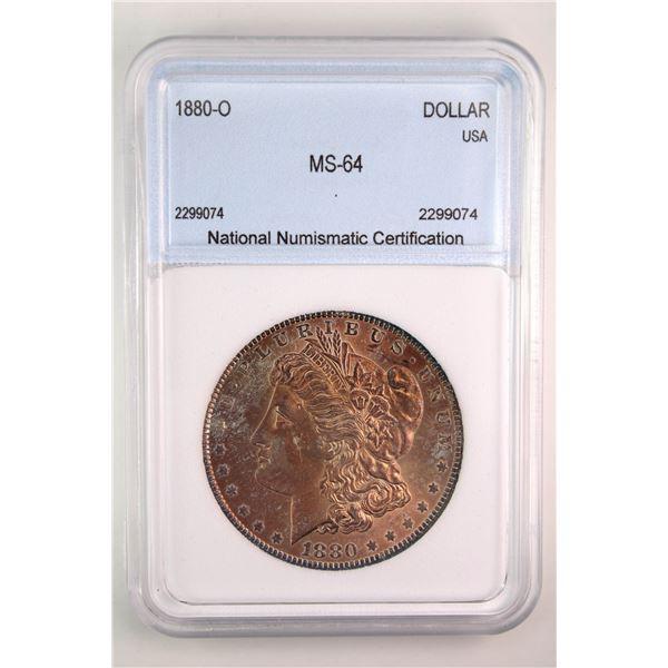 1880-O Morgan Silver Dollar NNC MS-64  Price Guide $1500 FABULOUS TONING!!