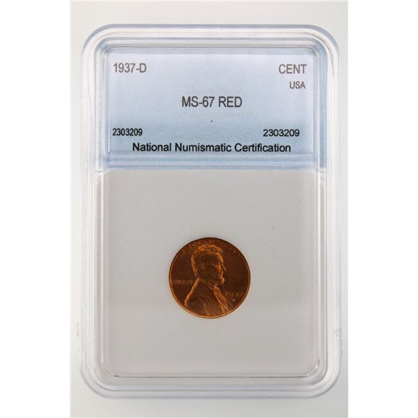 1937-D  Lincoln Cent NNC MS-67 Red