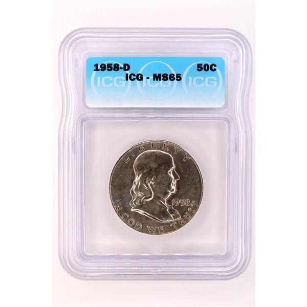 1958-D Franklin Half Dollar ICG MS-65