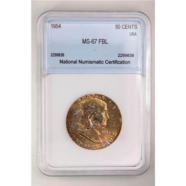 1954 Franklin Half Dollar NNC MS-67 FBL Price Guide $13500