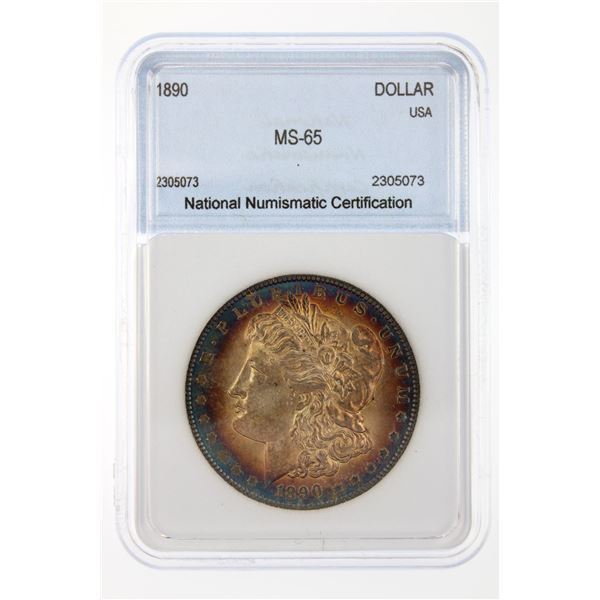 1890 Morgan Silver Dollar NNC MS-65  Price Guide $1050 INCREDIBLE BLUE RIM TONING!!