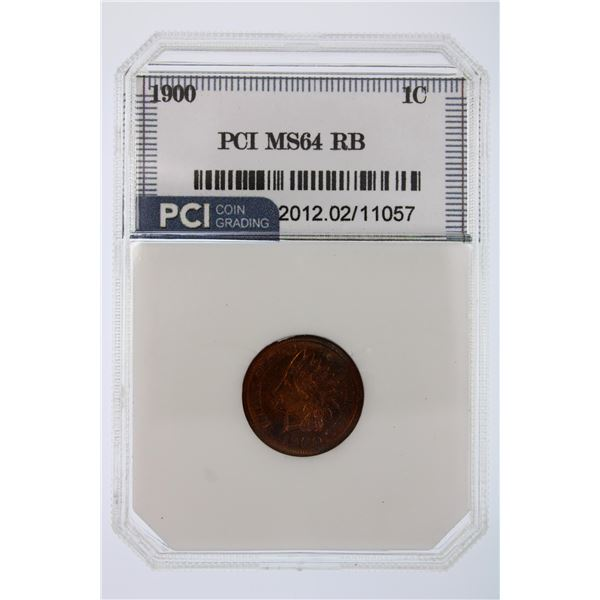 1900 Indian Cent RB PCI MS-64  Price Guide $175